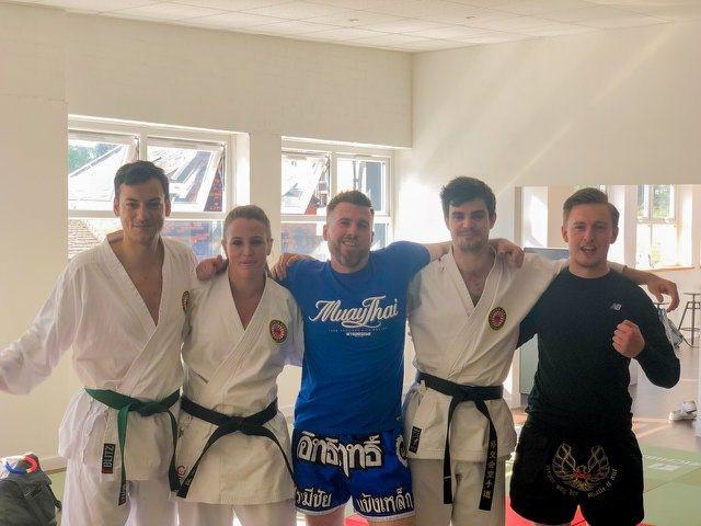 Martial artists cross training, Muay Thai, Karate, Judo