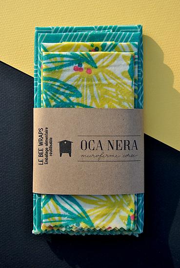 Emballages alimentaires à la cire d'abeille lot turquoise