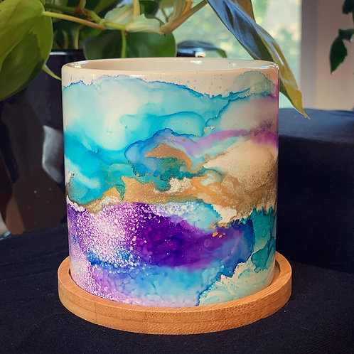 Hand Painted Plant Pot w/ Bamboo Tray