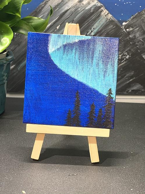 Mini Aurora Borealis Painting on Wooden Easel 4x4