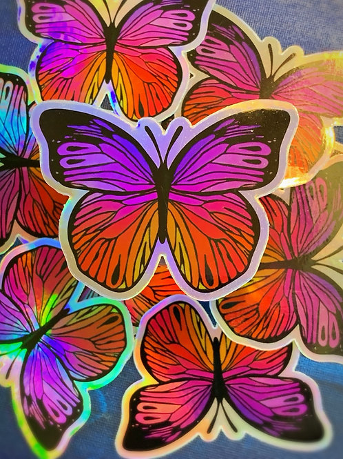 Holographic Butterfly Sticker 3x3