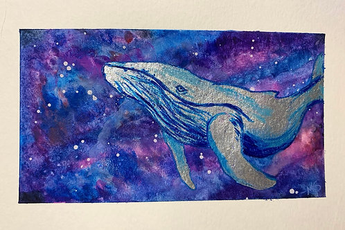 Original Watercolor MilkyWay  Whale Painting 5.5x8.5 (8x10 matted)