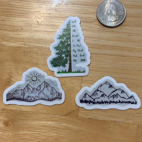 "Nature diecut sticker pack of 3 (each approx 2x2"")"
