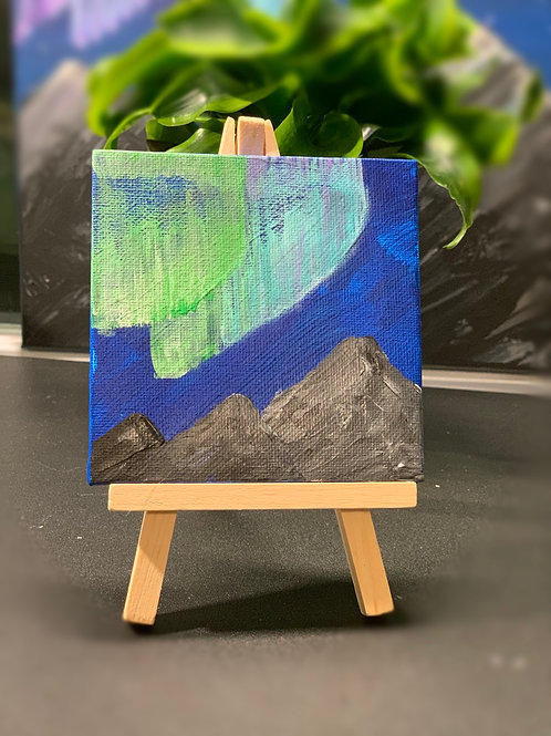 Tiny Aurora Painting 4x4 on Wooden Easel