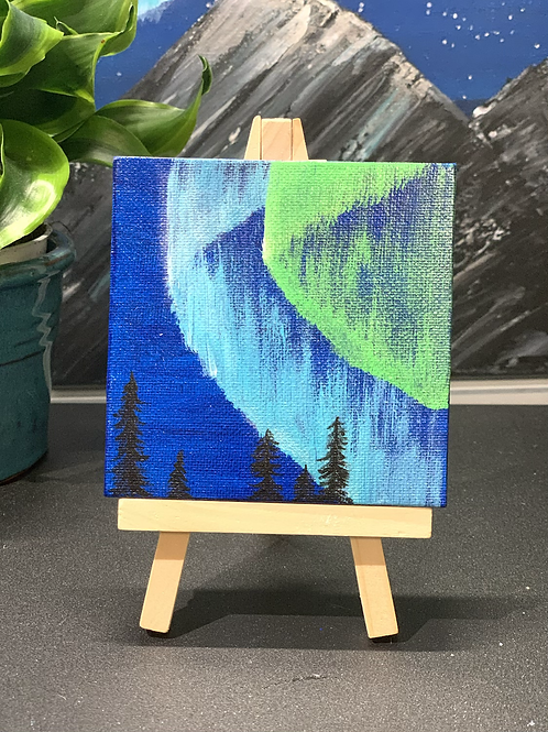 Mini Aurora Borealis Painting in Wooden Easel 4x4