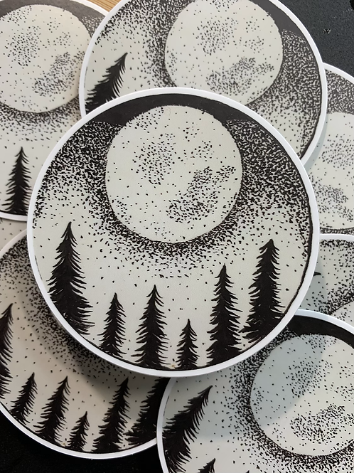 Forest Moon matte Sticker approx 3x3