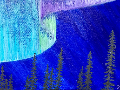 Original Painting of Aurora Borealis Forest 9x12 on stretched canvas