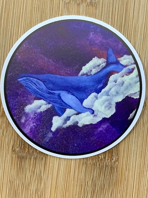 Matte Whale Milky Way Dream Sticker 3x3
