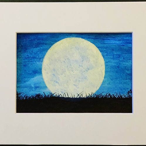 "Original watercolor ""Light Up the Night""   5x8"" (in 8x10"" matting)"