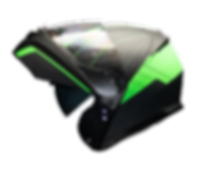 Raptor Black Green Perfil Open Helmet.pn