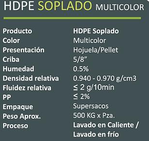 HDPE SOPLADO MULTICOLOR Tecnorem