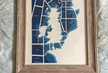 Papercut map of shipping areas