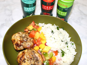 Baked Chicken Thighs w/ Mango Salsa and Rice