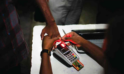 A man keeping his finger on Biometric