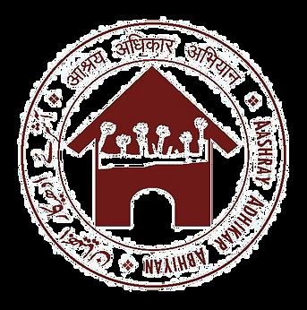 Logo which says Aashray Adhikar Abhiyan in Hindi, Urdu and English has a home and raising hands