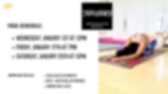 January 2020 sun and selah yoga classes.