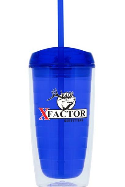 XFO Custom Printed Tumbler w/straw
