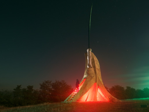 Dacian falx (sickle sword) monument, Romania.