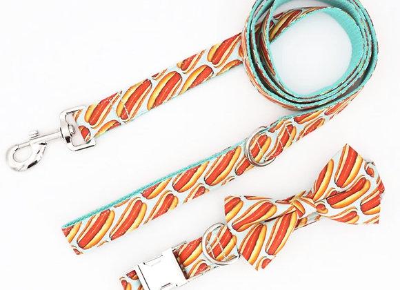 Hot Dog Collar and Leash Set