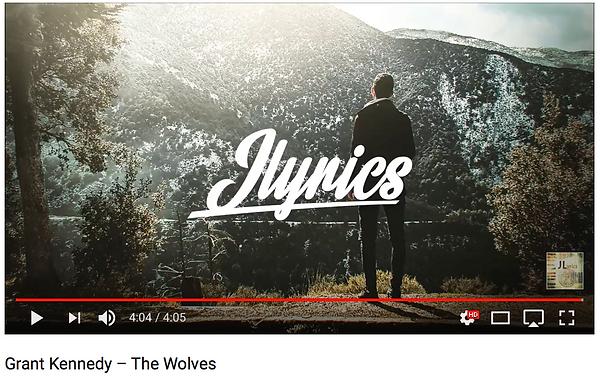 JLyrics web screenshot featuring Grant Kennedy's music