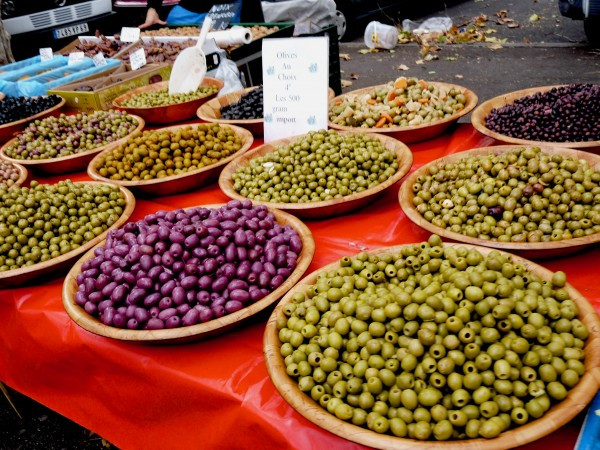 Colorful olives at the Saint Antoine Farmers Market in Lyon