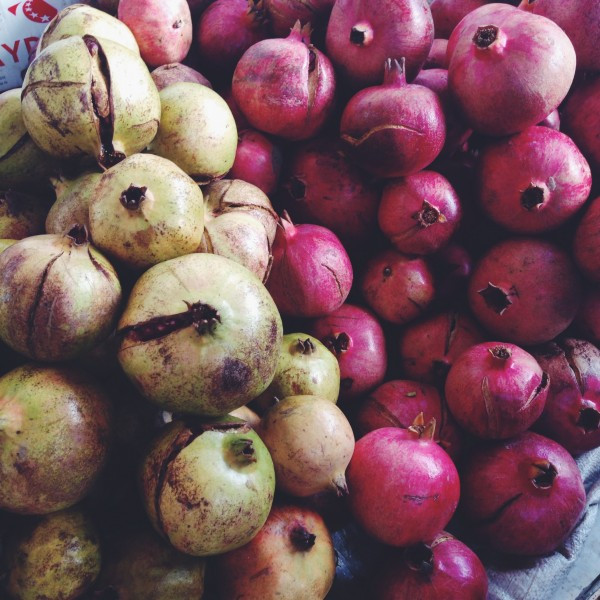 Green and Red Pomegranates