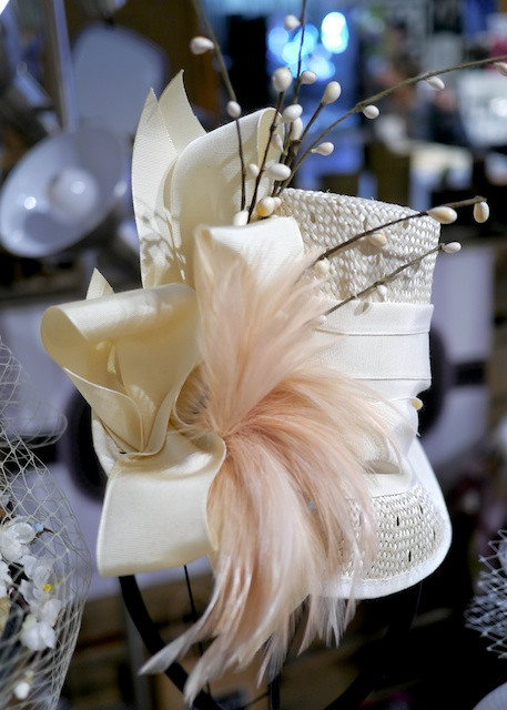 Katherine Carey Millinery Wedding Topper with Ribbons, Feathers and Twigs