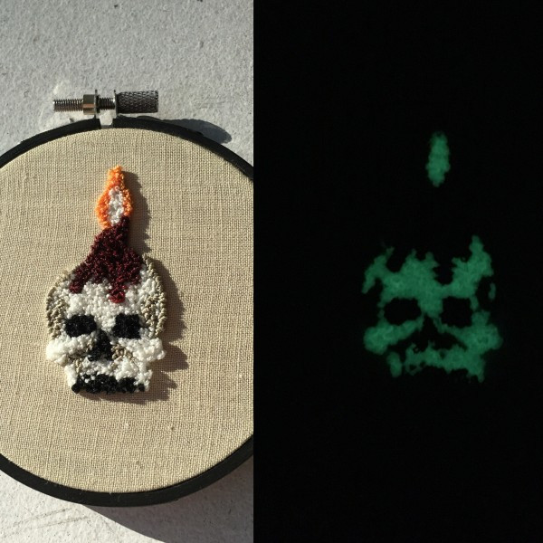 I got this super cool embroidery hoop by Harp & Thistle that GLOWS IN THE DARK!