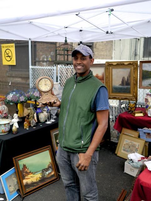 Jose Manuel Cebalos sells classic antiques at the Chelsea Flea Market