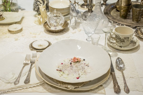 Mixing modern handmade tableware with vintage creates a beautiful effect (photo by Ed Lefkowicz)