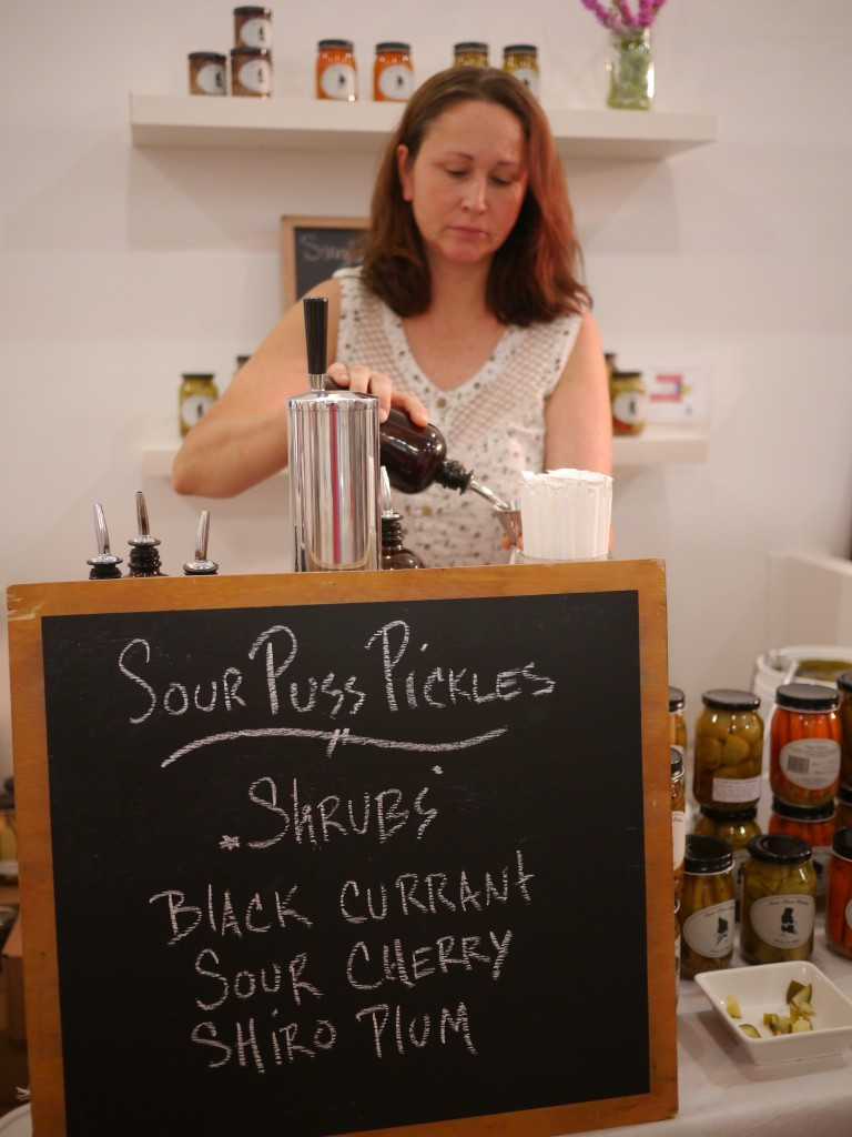 Evelyn from Sour Puss Pickles makes a Black Current Shrub Vinegar Soda at Super Duper Market