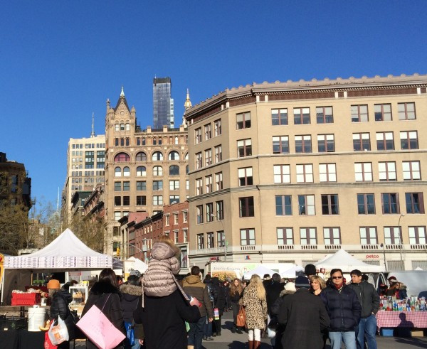 A brisk, clear day at the Greenmarket in Union Square