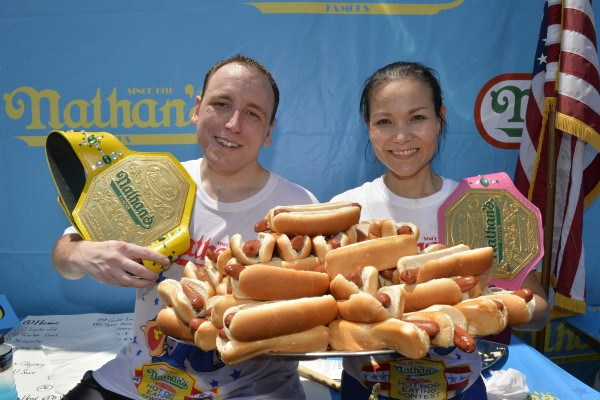 Joey Chestnut and Sonya Thomas, 2014 Champions! The 100-pound Thomas (of Alexandria, Va) has won the women's contest for all three years.