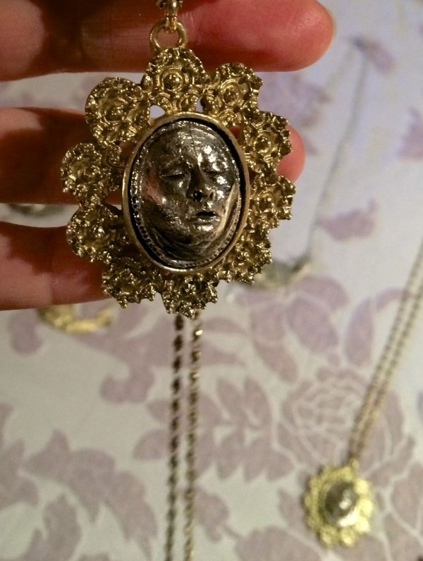 Miniature Death Mask Necklace, handmade by Post Moss Mortem
