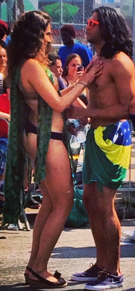She was wearing seaweed. He was wearing the Brazilian flag.