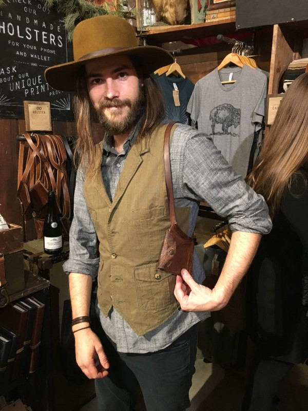Blaine models this modern holster (think cellphones, not pistols) from The Local Branch