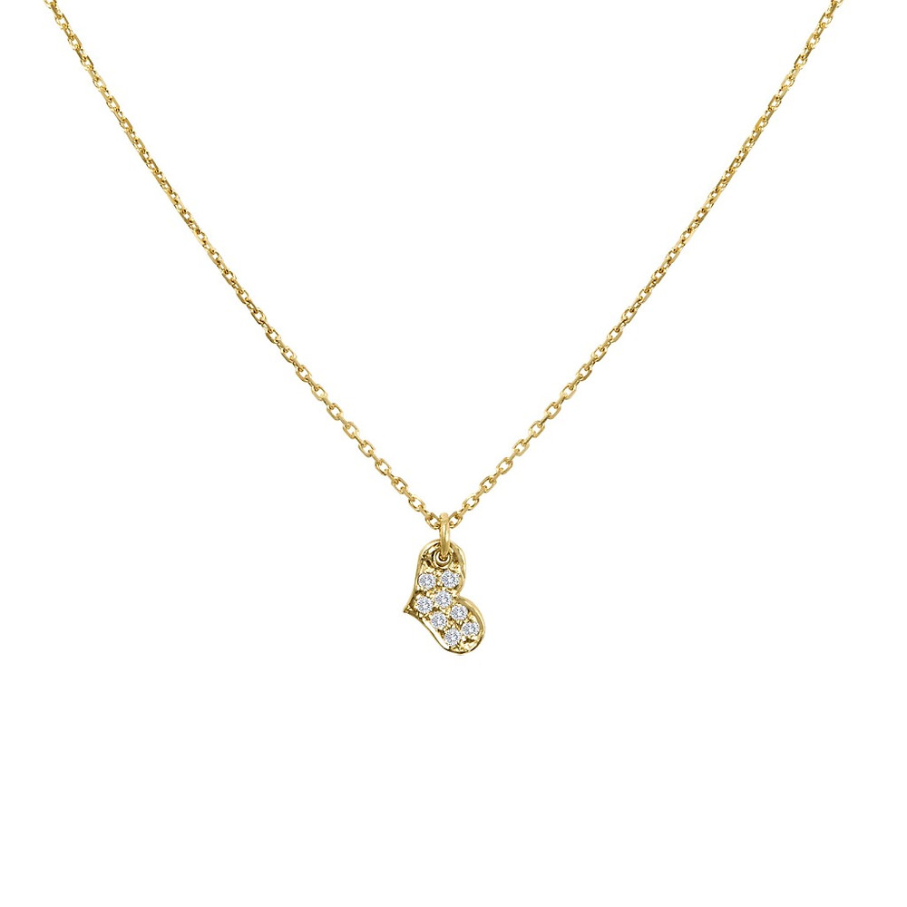 Atlantis Jewelry's 14K Gold Heart Necklace with pavé champagne diamonds.