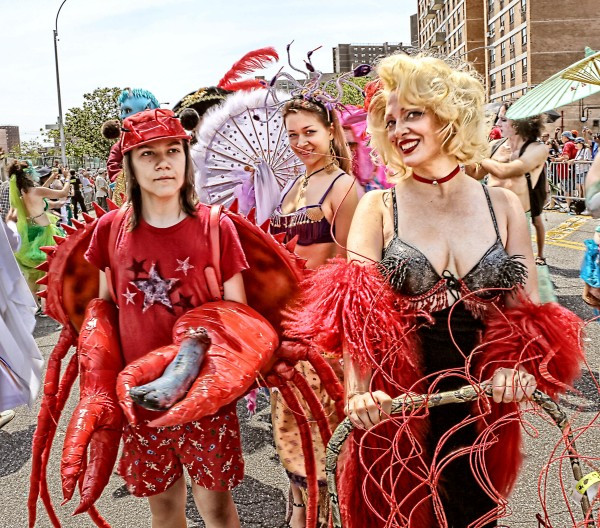 Lobsters and Mermaids at the Mermaid Parade (Photo by Kenny Lombardi)