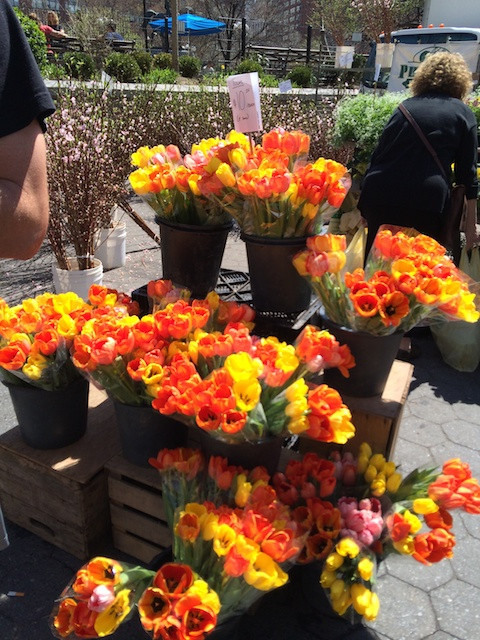 Colorful bunches of farmers market tulips