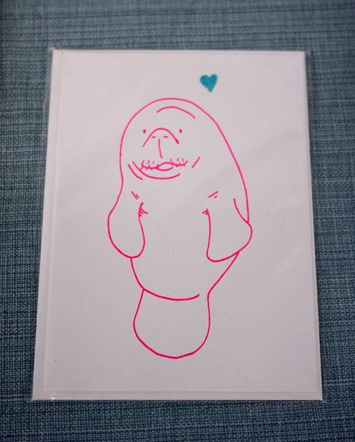 Little Bunny Manatee Greeting Card