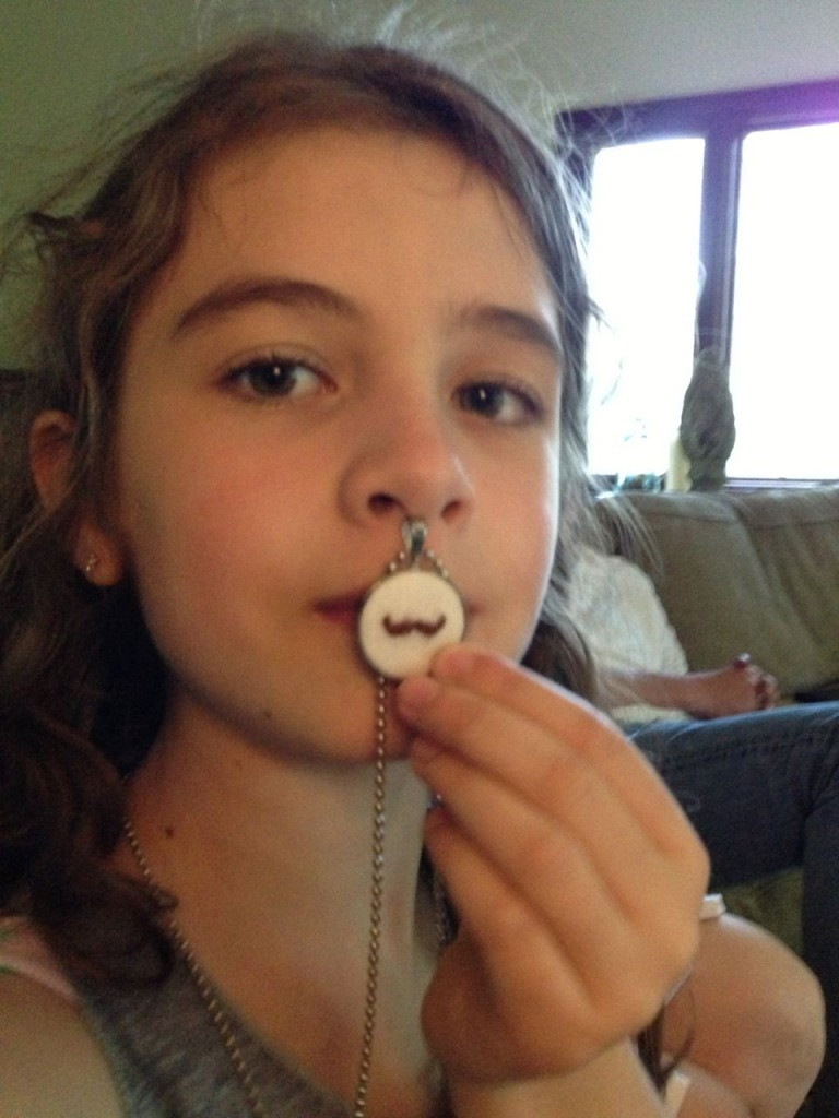 Maddie and  KnitKnit Felted Wool Mustache Pendant
