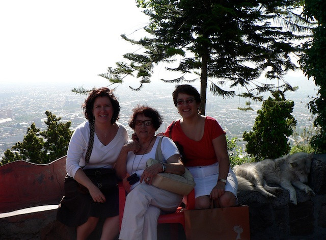 My sister Andrea and I with Mom in Santiago