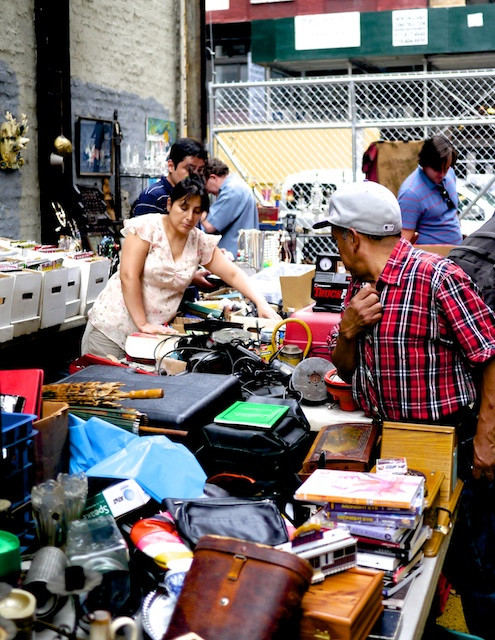 Shoppers at the Chelsea Flea