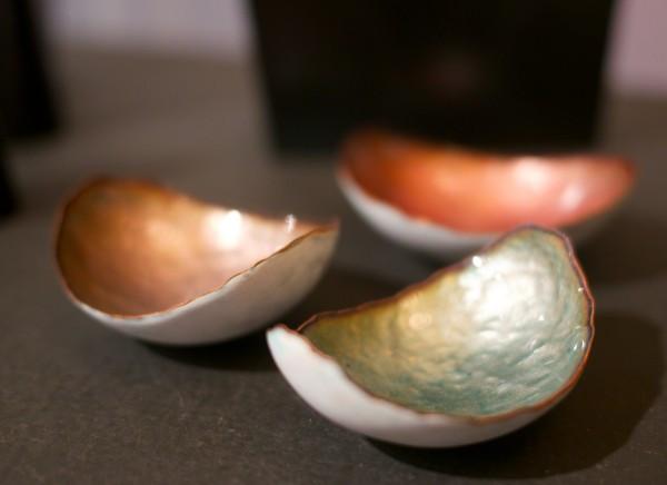 Trio of small copper enamel bowls by Kiln Design Studio