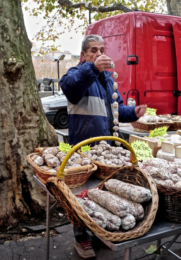 Selling Sausages at the Saint Antoine Market in Lyon