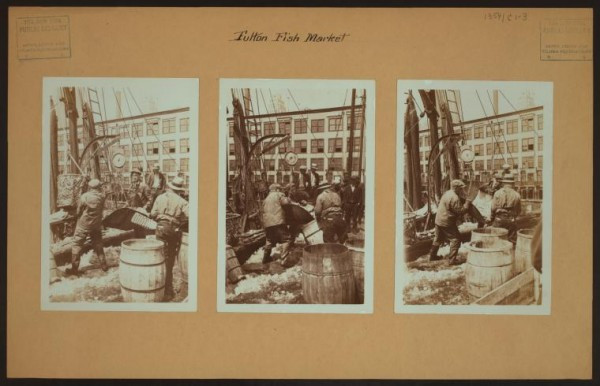 Irma and Paul Milstein Division of United States History, Local History and Genealogy, The New York Public Library. (1934). Fulton fish market docks in Manhattan - [Hoisting fish from schooner.] Retrieved from http://digitalcollections.nypl.org/items/510d47dd-993a-a3d9-e040-e00a18064a99