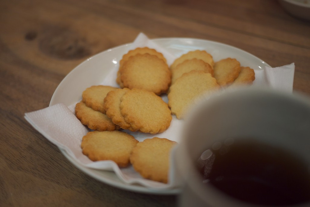 Tiny Poilâne Puntions Butter Cookies and Tea