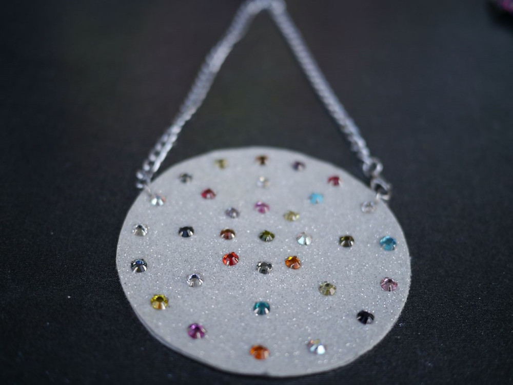 Crystal studded vynyl necklace from Unusual Star Jewelry