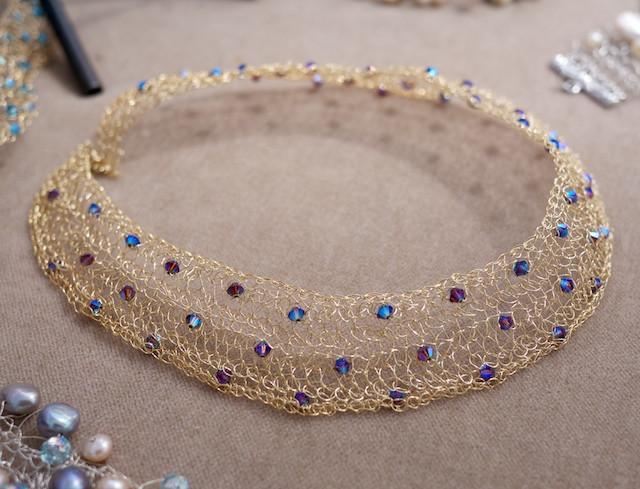 Juli Ra Design Choker - Gold Wire and Black Aurora Borealis