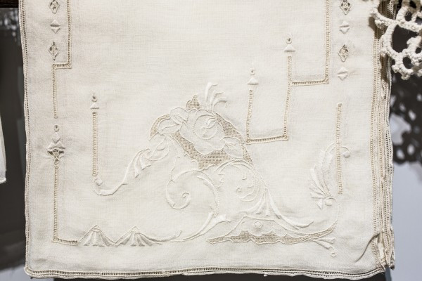 Wonderfully embroidered table linens - at abcmkt (photo by Ed Lefkowicz)